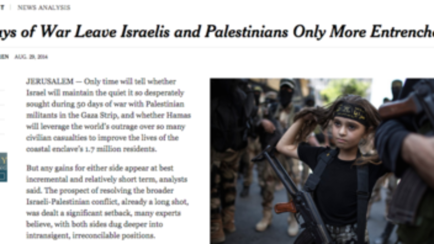 "Click photo to download. Caption: A third grader in Gaza is pictured on the New York Times website Aug. 29 (for an article that appeared in the newspaper's Aug. 30 print edition) wearing a headband with ""jihad"" slogans and military-style camouflage pants, while carrying a Kalashnikov rifle and marching alongside adult members of the Islamic Jihad terrorist group. Credit: Screenshot of nytimes.com."