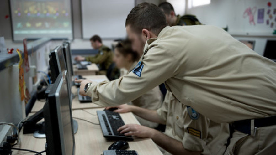 A group of Israel Defense Force cyber cadets during a training exercise. Credit: IDF.