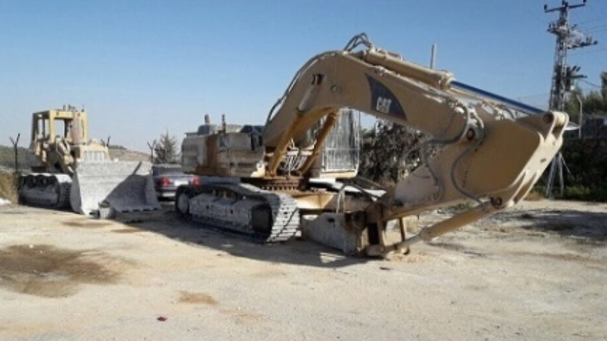 Excessive Palestinian quarrying in a nature reserve in the Judean Desert was stopped by the Israeli Civil Administration. Credit: The Israeli Civil Administration.