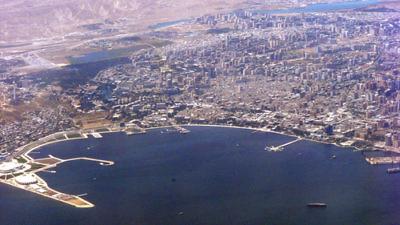 Click photo to download. Caption: An aerial view of Baku, capital of Azerbaijan. Credit: Khortan via Wikimedia Commons.