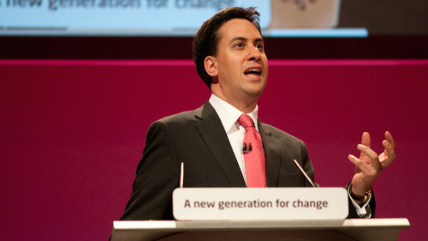 Ahead of the British election, Labour Party leader Ed Miliband (pictured), who is Jewish, has drawn criticism from his own religious community for his party's support of a Palestinian state. Credit: Ed Miliband - Flickr via Wikimedia Commons.