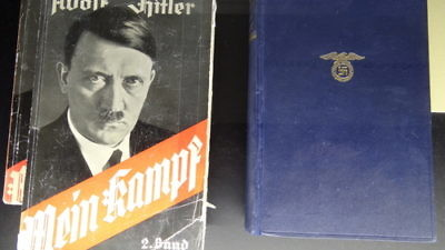 "Copies of Adolf Hitler's book ""Mein Kampf"" at the Documentation Center in Congress Hall in Nuremberg, Germany. Credit: Adam Jones, Ph.D., via Wikimedia Commons"