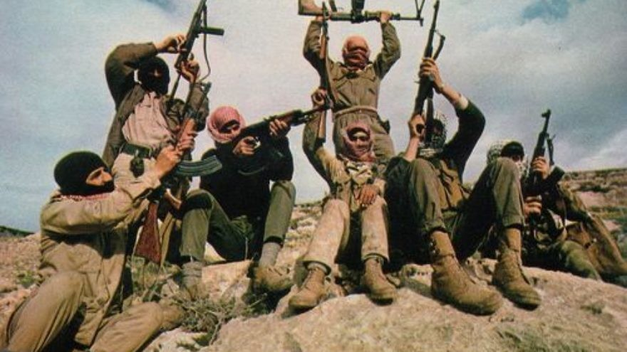Click photo to download. Caption: Members of the Popular Front for the Liberation of Palestine (PFLP) terror group are pictured flaunting their weapons in the mountains east of the Jordan River. The PFLP carried out the August 1976 terror attack at the El Al Terminal in the Istanbul airport, killing four people, including 29-year-old Harold W. Rosenthal. Credit: Thomas R. Koeniges via Wikimedia Commons.