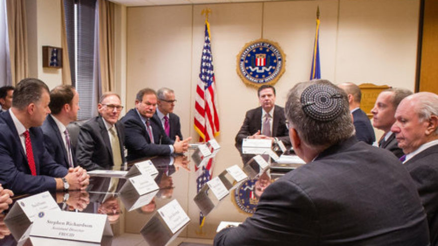 Jewish leaders meet March 3 with FBI Director James Comey and other federal officials to discuss the ongoing wave of anti-Semitic threats and attacks in the U.S. Credit: Conference of the Presidents of Major American Jewish Organizations.