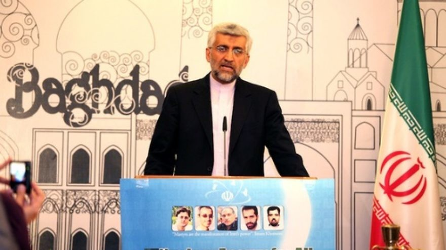 Click photo to download. Caption: Iran's Chief Nuclear Negotiator Saeed Jalili speaks during a press conference after the end of the talks between envoys from Iran and six world powers about Tehran's nuclear program, in Baghdad, Iraq, May 24, 2012. Credit: EPA/ALI ABBAS.