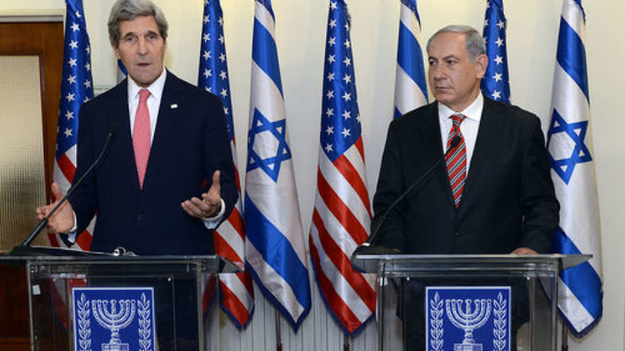 U.S. Secretary of State John Kerry with Israeli Prime Minister Benjamin Netanyahu in Jerusalem. Credit:Wikimedia Commons.