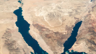 Egypt's Sinai Peninsula (pictured in satellite image) is the site of reported collaboration between the Hamas and Islamic State terror groups. Credit: NASA.