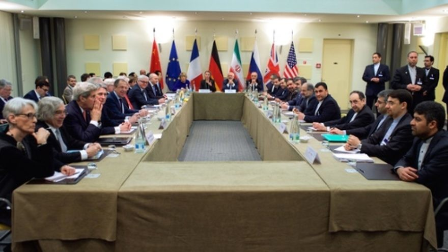 Foreign ministers and other officials from the P5+1 countries, the European Union, and Iran—including John Kerry of the United States, Philip Hammond of the United Kingdom, Sergey Lavrov of Russia, Frank-Walter Steinmeier of Germany, Laurent Fabius of France, Wang Yi of China, Federica Mogherini of the EU, and Javad Zarif of Iran—are pictured in Lausanne, Switzerland, on March 30, 2015, amid multilateral negotiations with Iran about the future of its nuclear program. Credit: United States Department of State.