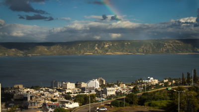 The Kinneret in Tiberias has seen receding water levels over the years, though heavy rainfall is beginning to fight back against water depletion. Credit: Andreas Fjellmann via Wikimedia Commons.