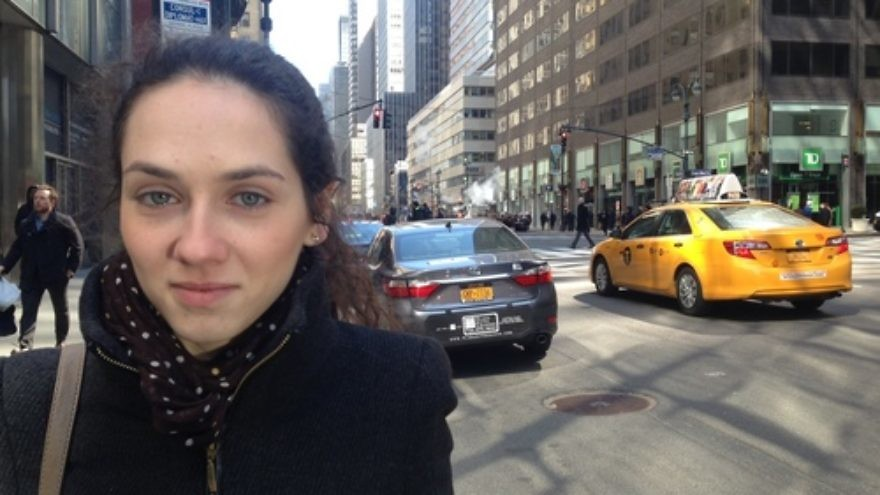 Click photo to download. Caption: Masha Shumatskaya, a Jewish activist who fled the Ukrainian city of Donetsk last summer, is pictured in New York City, where she recently participated in a briefing hosted by the American Jewish Joint Distribution Committee (JDC). Credit: JDC.