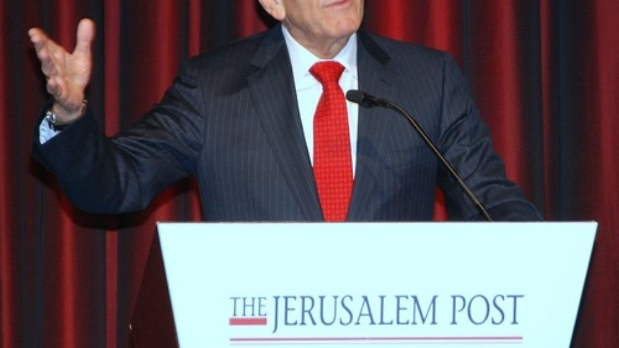 Click photo to download. Caption: Former Israeli prime minister Ehud Olmert speaks at Sunday's Jerusalem Post Conference in New York. Credit: Maxine Dovere.