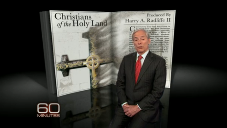 "Click photo to download. Caption: Reporter Bob Simon on the recent ""60 Minutes"" Holy Land Christians program. Credit: CBS."