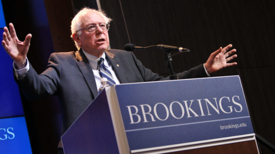 In February 2015, U.S. Sen. Bernie Sanders (I-Vt.) delivers an address on how to spur the American economy during an event hosted by the Brookings Institution. Credit: Paul Morigi Photography/Brookings Institution via Flickr.com.