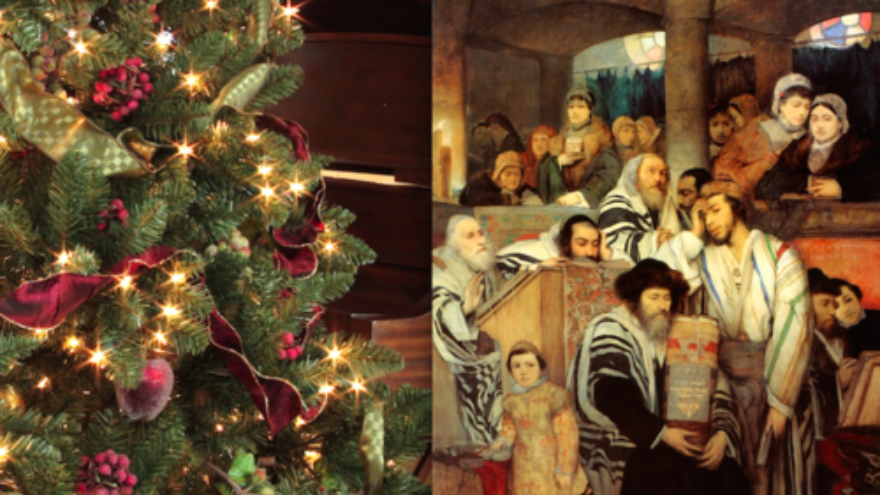 Click photo to download. Caption: A Christmas tree with ornaments (left) and an illustration of Jews praying in synagogue on Yom Kippur. Credit: Mfisherkirshner and Maurycy Gottlieb via Wikimedia Commons.