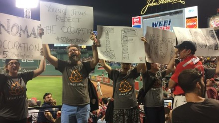 IfNotNow protesters disrupt a Boston Red Sox baseball game June 13. Credit: IfNotNow via Twitter.