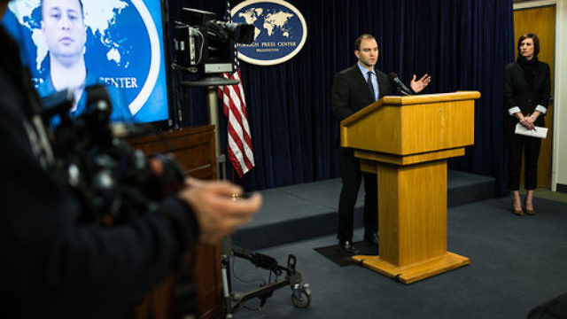 Deputy National Security Adviser Ben Rhodes, who constructed the Obama administration's communications strategy around the Iran nuclear deal, addresses the media in January 2014. Credit: U.S. State Department.