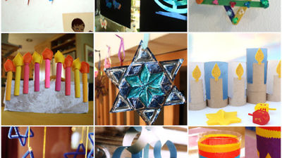 A collage of Hanukkah crafts projects for children. Source: Pinterest.