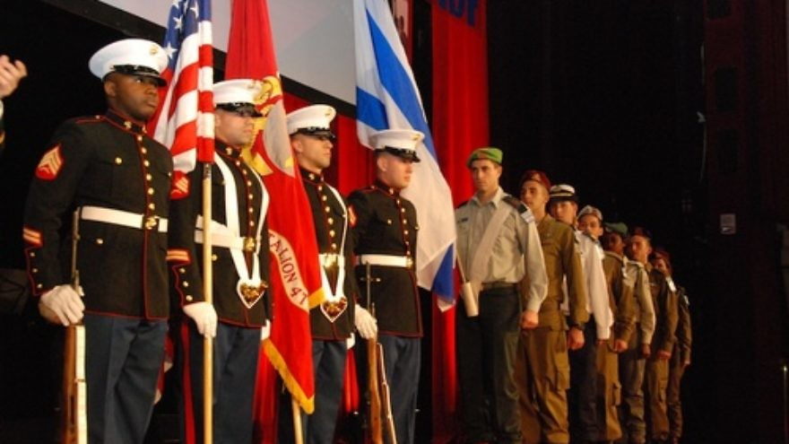 The honor guards of the U.S. Marines and the Israel Defense Forces present colors at the Friends of the Israel Defense Forces 2012 Gala in New York City, March 12, 2012. Credit: Maxine Dovere.