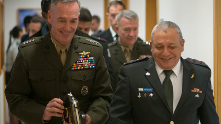 Click photo to download. Caption: Israel Defense Forces Chief of Staff Lt. Gen. Gadi Eizenkot (front, at right) with U.S. Marine Gen. Joseph F. Dunford, Jr., in Tel Aviv on Oct. 18, 2015. Credit: DoD photo by D. Myles Cullen/Released.