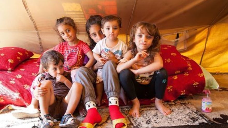 Click photo to download. Caption: Assyrian Christian children who were displaced by the Islamic State terror group are pictured in a tent in Ankawa, Iraq. Credit: Jeff Gardner, Picture Christians Project, picturechristians.org.