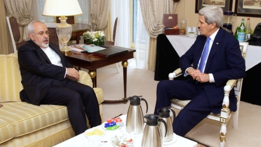 Click photo to download. Caption: On Jan.16, 2015, U.S. Secretary of State John Kerry (right) meets with Iranian Foreign Minister Mohammad Javad Zarif in Paris to continue their negotiations over the future of Iran's nuclear program. The nuclear talks between Iran and the P5+1 powers, a group that includes the U.S., have drawn common skepticism from Israel and Arab Gulf states such as Saudi Arabia. Credit: U.S. Department of State.