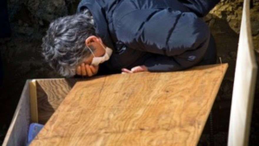 A man is grief-stricken after the earthquake and tsunamis devastate Japan in March. Rabbi Kushner guides the way to facing God after suffering tragedy and the loss of loved ones. Credit: Douglas Sprott.