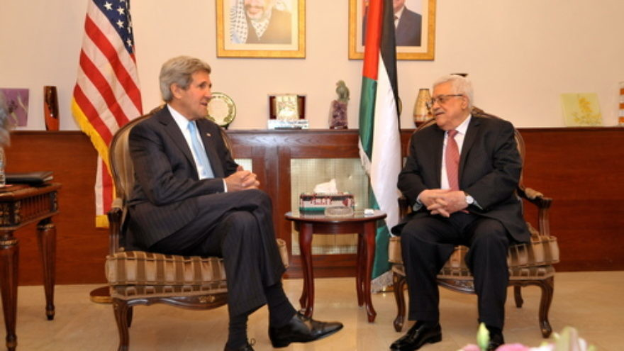 U.S. Secretary of State John Kerry (left) sits with Palestinian Authority leader Mahmoud Abbas before a meeting in Amman, Jordan, on June 28, 2014. Kerry and Abbas had their latest meeting, also in Amman, on Feb. 21, 2016. Credit: U.S. Department of State.