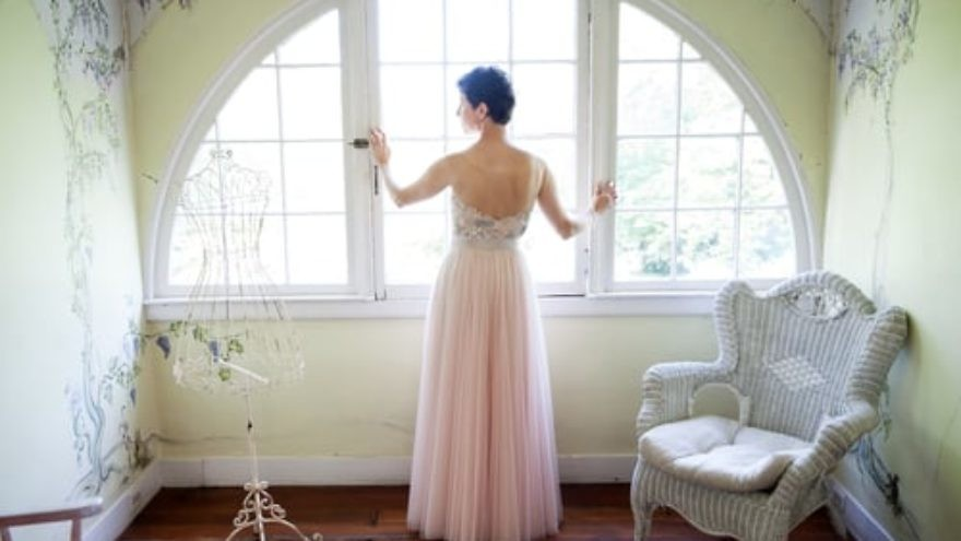 Click photo to download. Caption: Melinda Michel of Baltimore is pictured in the dress she wore to her second wedding. Credit: Richard and Tara Photography.