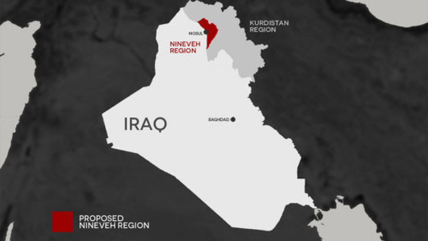 A map of the proposed autonomous Nineveh Plains region in Iraq. For the first time in history, all the Iraqi Christian militias are working together to retake their historical homeland in the Nineveh Plains back from Islamic State, notes columnist Bradley Martin. Credit: Courtesy of Ramy Jajo.
