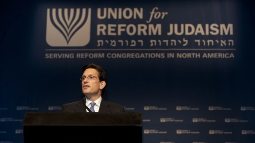 Click photo to download. Caption: U.S. Rep. Eric Cantor (R-VA), House Majority Leader, addresses the Union for Reform Judaism biennial on Nov. 15. Credit: Courtesy Union for Reform Judaism.