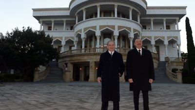 Israeli Prime Minister Benjamin Netanyahu (left) and Azerbaijani President Ilham Aliyev meet Dec. 13 during Netanyahu's state visit to Azerbaijan. Credit: Haim Zach/GPO.