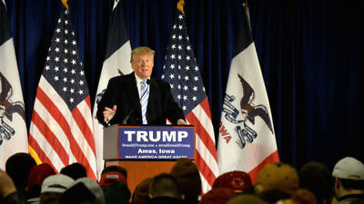 Click photo to download. Caption: Donald Trump speaks at Iowa State University on Jan. 19, 2016. Credit: Alex Hanson via Wikimedia Commons.