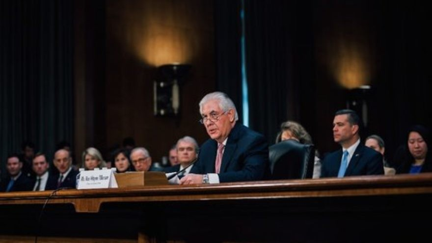 Rex Tillerson, President Donald Trump's choice for secretary of state, speaks at his Senate confirmation hearing Jan. 11, 2017. Credit: Office of the President-elect.