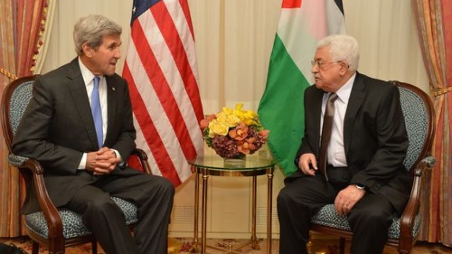 U.S. Secretary of State John Kerry (left) meets with Palestinian Authority President Mahmoud Abbas in New York City Sept. 19, 2016. Credit: U.S. State Department.