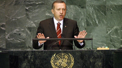 Turkish President Recep Tayyip Erdoğan addresses the U.N. General Assembly in September 2009. Credit: U.N. Photo/Marco Castro.