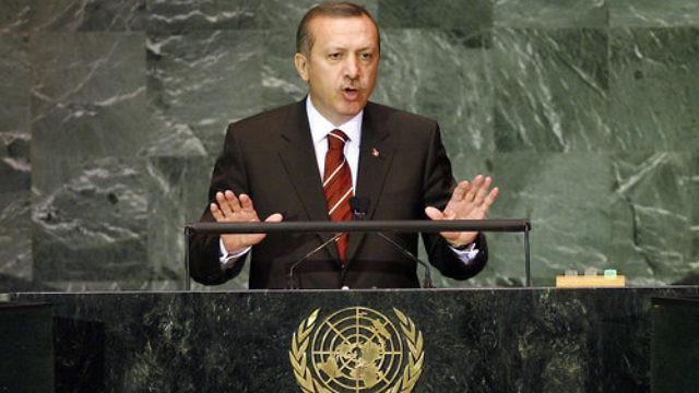 Turkish President Recep Tayyip Erdoğan addresses the U.N. General Assembly in September 2009. Credit: U.N. Photo/Marco Castro.