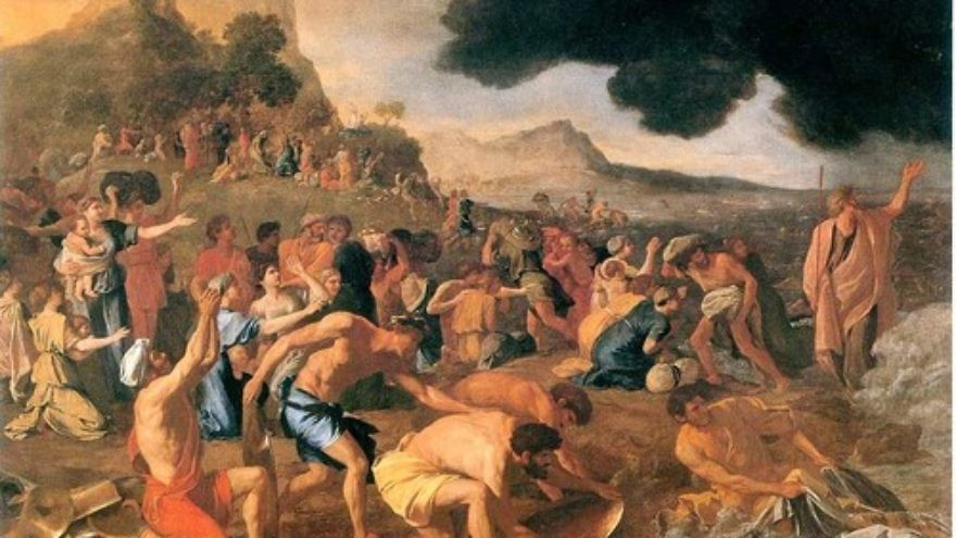 """Click photo to download. Caption: """"The Crossing of the Red Sea,"""" a painting by Nicholas Poussin. Credit: Nicholas Poussin via Wikimedia Commons."""