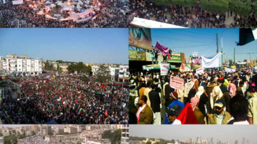 "Click photo to download. Caption: A collage of ""Arab Spring"" protests. Top-right: Tunis, Tunisia. Middle-left: Al-Bayda, Libya. Middle-right: San'a, Yemen. Bottom-left: Hama, Syria. Bottom-right: Karrana, Bahrain. Credit: Wikimedia Commons."
