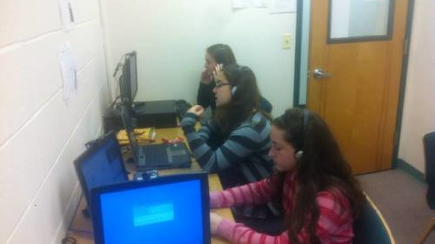 Students at the Ma'ayanot Yeshiva High School for Girls in Teaneck, N.J., take a Bonim B'Yachad online course. Credit: Courtesy.