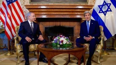 U.S. Secretary of State John Kerry (right) sits with Israeli Prime Minister Benjamin Netanyahu as they address reporters June 27, 2016, at the U.S. Ambassador's Residence in Rome, Italy. Credit: U.S. State Department.