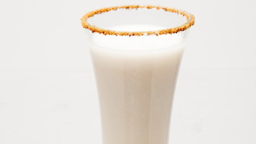 Click photo to download. Caption: Spiced Spiked Almond Milk. Credit: JoyofKosher.com and Joy of Kosher with Jamie Geller Magazine.