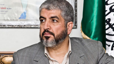 """Click photo to download. Caption: Hamas leader Khaled Mashaal (pictured)—safely ensconced in Doha, Qatar, far from the battlefield—said the Palestinian terrorist group """"dazzled the world with her victory"""" in its recent war with Israel. Credit: Trango via Wikimedia Commons."""