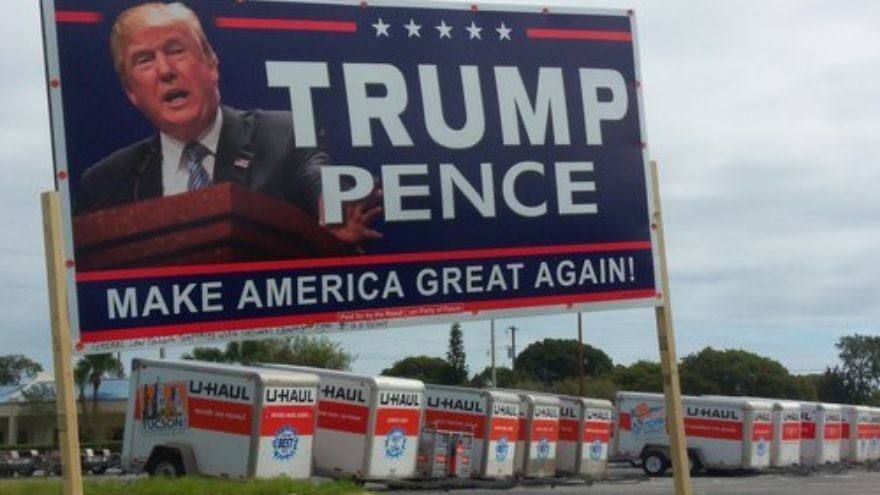 A Trump-Pence sign in Pasco County, Fla. Credit: Daniel Oines via Wikimedia Commons.
