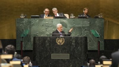 Palestinian Authority leader Mahmoud Abbas addresses the United Nations General Assembly. Credit: U.N. Photo/Cia Pak.