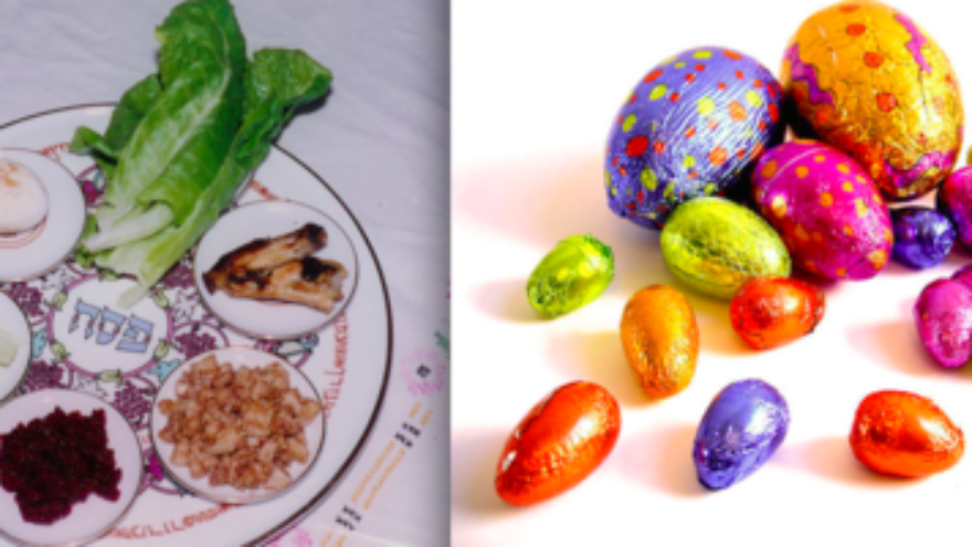 Click photo to download. Caption: A Passover seder plate and Easter eggs. Interfaith families find themselves working to balance observance of both holidays. Credit: Yoninah and Lotus Head via Wikimedia Commons.