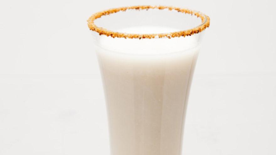 Click photo to download. Caption: Spiced Spiked Almond Milk. Credit: JoyofKosher.com and Joy of Kosher with Jamie Geller Magazine.