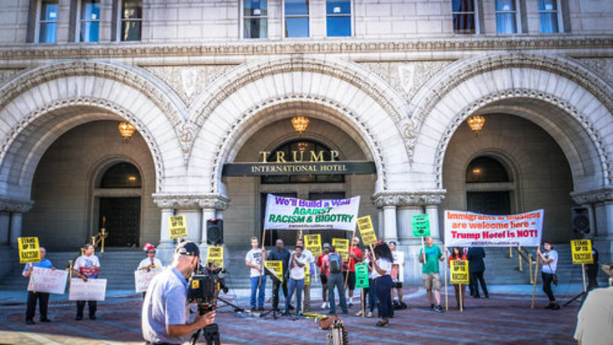 A protest against then-presidential candidate Donald Trump outside the Trump International Hotel in Washington, DC, Sept. 12, 2016. Credit: Ted Eytan via Wikimedia Commons.