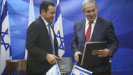 Israeli Prime Minister Benjamin Netanyahu (right) meets with Guatemalan President Jimmy Morales in Jerusalem, Nov. 29, 2016, on the 69th anniversary of Guatemala's key role in the diplomatic events that laid the foundation for the state of Israel's creation. Credit: Marc Israel Sellem/POOL/Flash90.