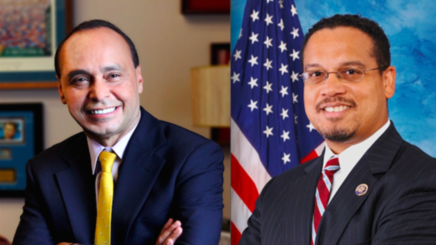 Click photo to download. Caption: From left to right, Democratic members of Congress Reps. Luis Gutierrez (Illinois) and Keith Ellison (Minnesota). Credit: United States Congress.