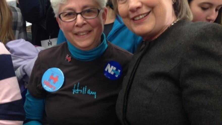 Click photo to download. Caption: Seventy-year-old Norma Shulman (left) is pictured in New Hampshire with her presidential candidate of choice, Hillary Clinton. Credit: Courtesy Norma Shulman.